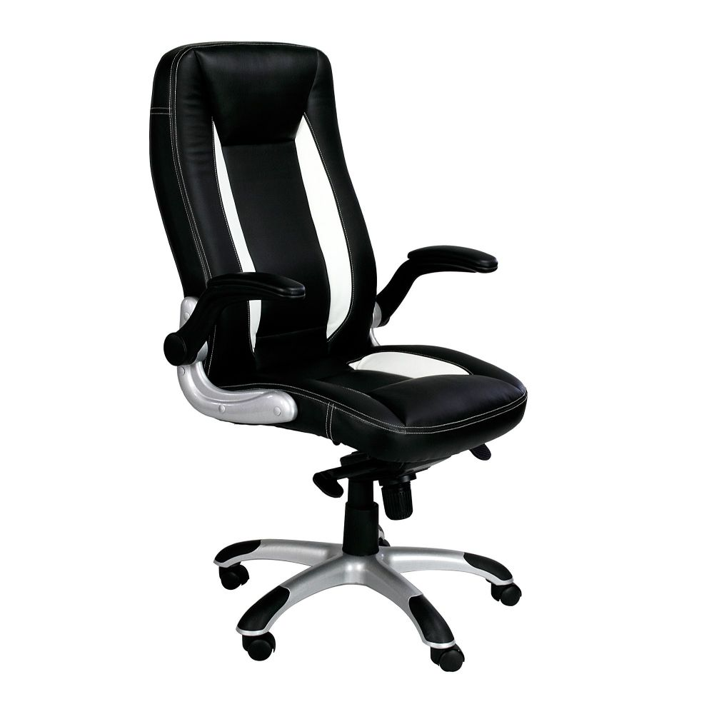 Friesian Executive Chair, Black with White Detail with built in Lumbar Support